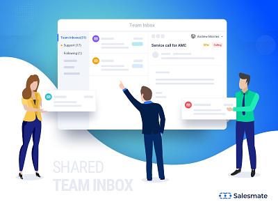 Salesmate Team Inbox salesmate sharedinbox teaminbox inbox crm vector web app design illustration ui