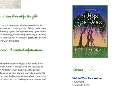 Events web site blog green white