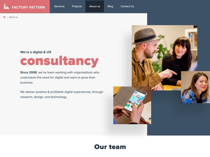 Factory Pattern About Page design ui web site