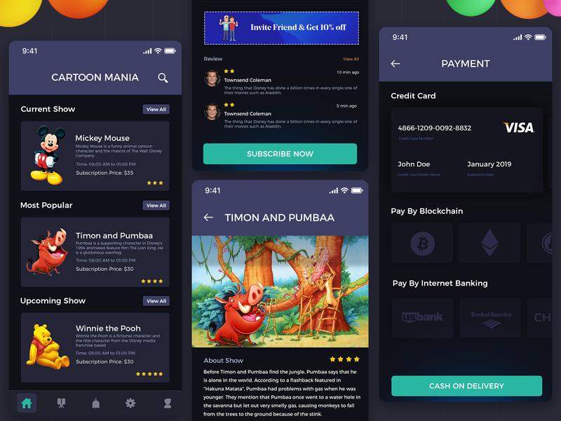 App design for cartoon series iphone app mobile app ux ui ios cartoon app app design