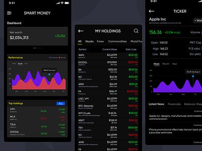 Stock Market App mutal fund investment app shares ux ui mobile app iphone app forex app stock
