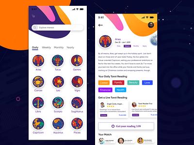 Astrology & Horoscope App android astrology app ios astrology app tarot reading ui  ux design ui app horoscope astrology