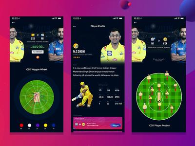 IPL App colourfull app ios app app android cricket app ios cricket app ui  ux ui dailyui indian cricket app dhoni app csk app cricket app ipl app