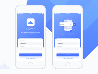 01 - Sign Up | MyWayy onboarding debut routines login habit mywayy startup dailyui signup