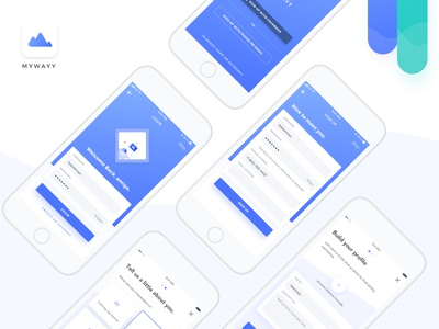 MyWayy Onboarding app name bio interests upload picture login signup daily ui onboarding