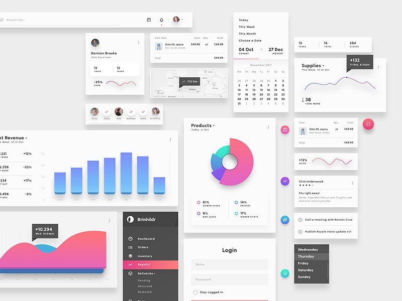 Brinhildr - Beautiful & Rich Elements products dashboard admin flat panel interactive ux ui desktop magenta charts light