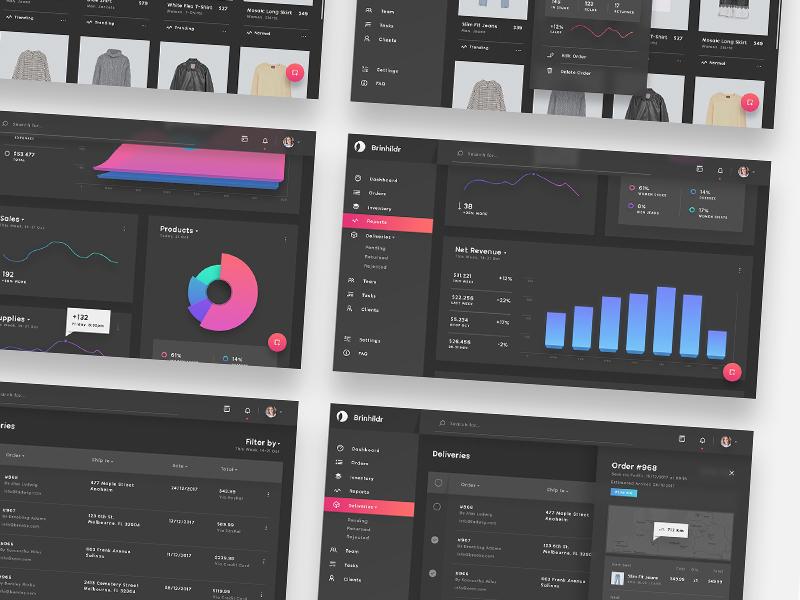 Brinhildr - UI Kit for Dashboards customization orders dark dashboard admin panel interactive ux ui desktop magenta charts