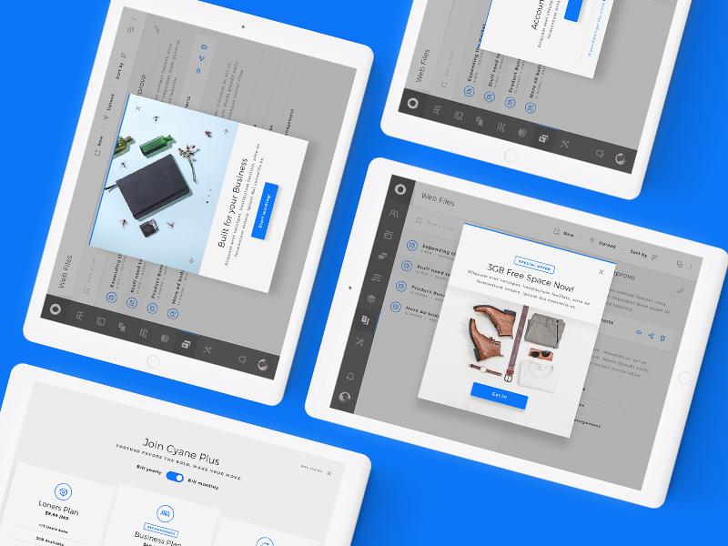 Cyane UI Kit - Web Business & Teams App UI Kit files list search calendar admin pop-up interactive ux ui desktop charts dark