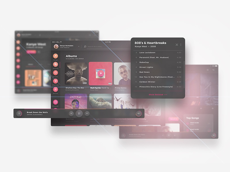 Crimson UI Kit - Highly Customizable music player albums player music flat dark screens ux ui tablet x web