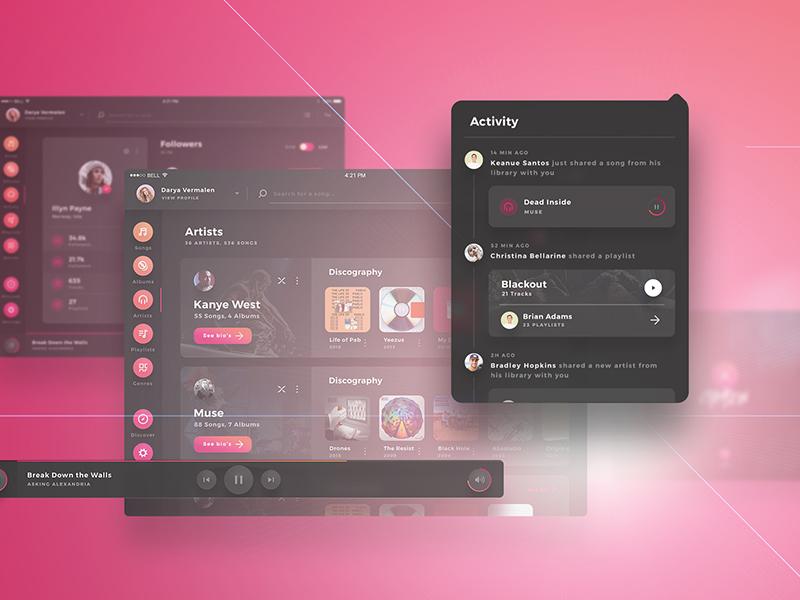 Crimson UI Kit -  iPad Music Player UI Kit music player albums player music flat dark screens ux ui tablet x web