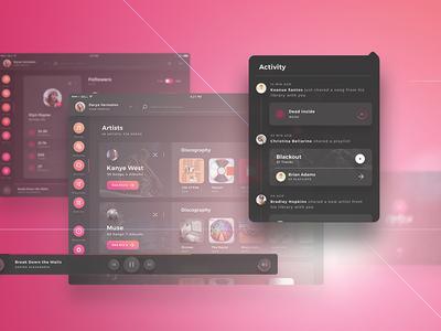 Crimson UI Kit -  iPad Music Player UI Kit