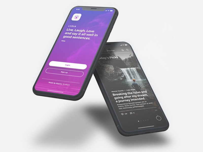 Lydia UI Kit - Bloggin & Pulishing App UI Kit mobile iphone x ui ux interactive iphonex presentation dark purple slide article blog