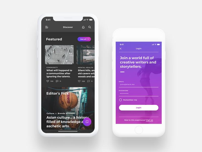 Lydia UI Kit - Bloggin & Pulishing App UI Kit blog article discover purple dark login iphonex interactive ux ui iphone x mobile