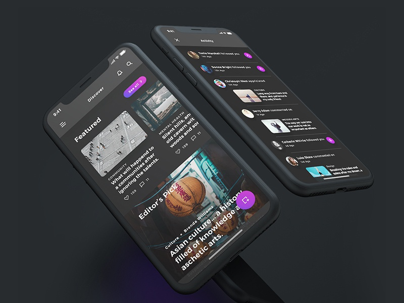 Lydia UI Kit - Dark Mode mobile iphone x ui ux interactive iphonex activity dark purple discover article blog