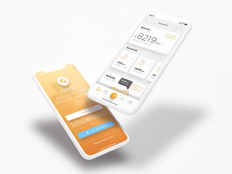 Aurelia UI Kit - iOS Wallet App UI Kit dashboard login gold clean floating bitcoin currency wallet