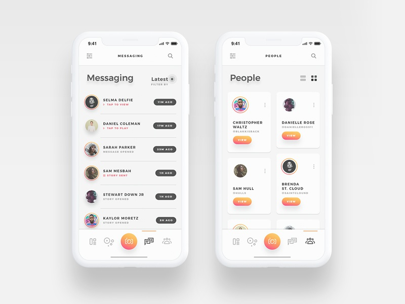 Arnelle UI Kit - Messages and Contacts stories contacts chat gallery messages app ui ux ios iphone x gold