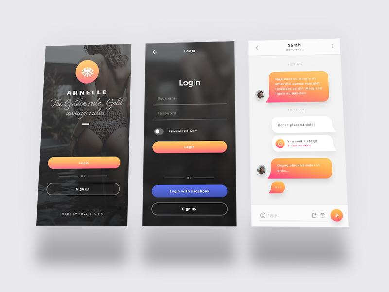 Arnelle UI Kit - iOS Stories App UI Kit stories messages chat login splash app ui ux ios iphone x gold