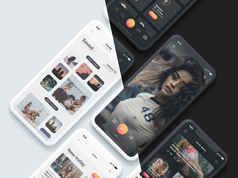 Arnelle UI Kit - Dark & Light stories messages chat gallery media app ui ux ios iphone x gold
