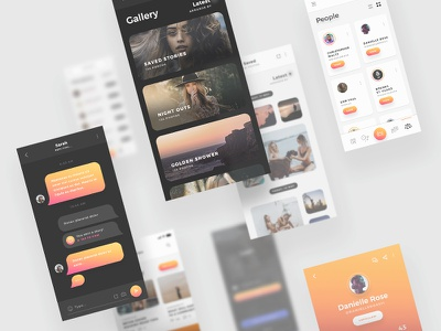 Arnelle UI Kit - iOS Stories App UI Kit stories messages chat gallery media app ui ux ios iphone x gold