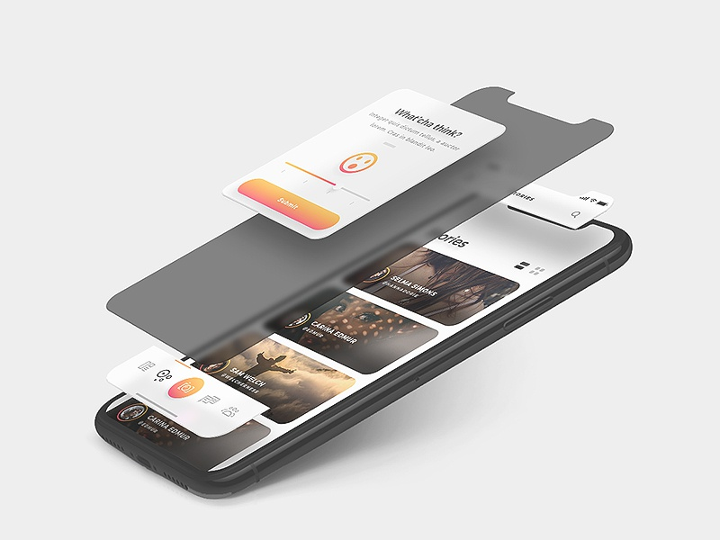 Arnelle UI Kit - High Customizable gold iphone x ios ux ui app albums gallery dark chat messages stories