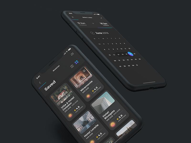 Sofia UI Kit - Dark Mode travel calendar clean dark iphone x interactive minimal app ui elements ux minimal uidesign ui