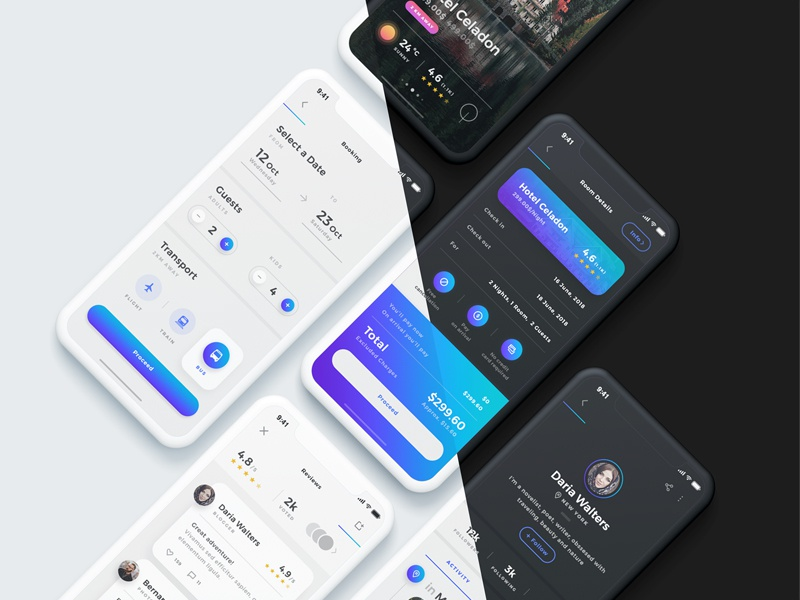 Sofia UI Kit - Dark Mode dark clean iphone x ux ui minimal travel app uxdesign uidesign booking travel