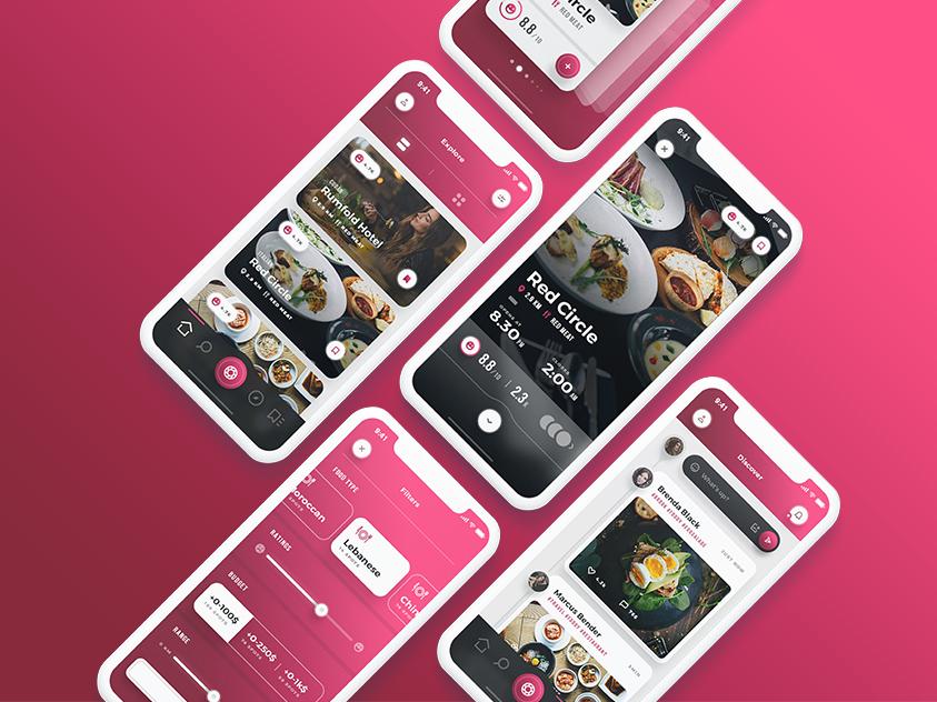 Scarlett - iOS Restaurants & Food App UI Kit red minimal ux ui-design flat ui elements iphonex clean filters restaurant app food app dark uidesign ui