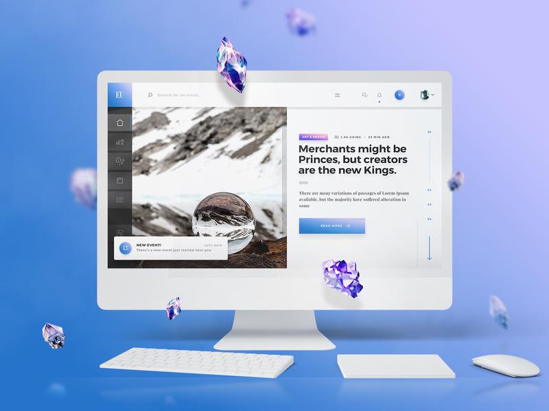 Eurielle Web UI Kit app design slider news dashbaord events app ui kit flat clean dark web ux minimal ui