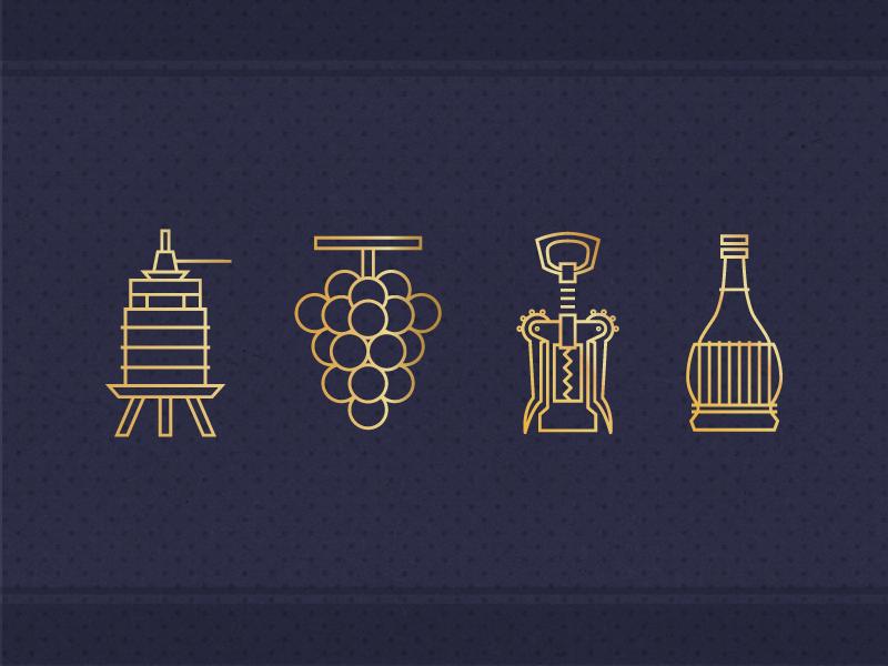 Corinta Icons icons wine winery gold winepress corkscrew grapes