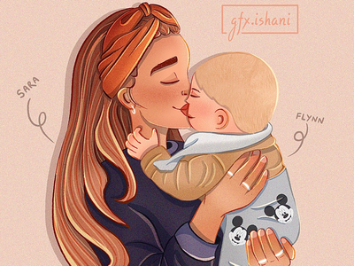 Mother and son illustration