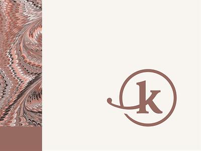 Personal Brand flourish mark identity monogram logo monogram branding cirular circle k logomark logo