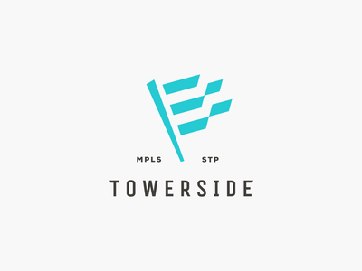 Towerside Logo     Concept flag pole flagpole mark branding identity logomark logo ribbons neighborhood flag