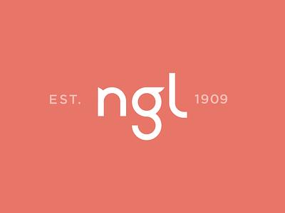 NGL Logo   Concept circular round acronym friendly serif flourish curves lowercase g established wordmark mark identity branding logo