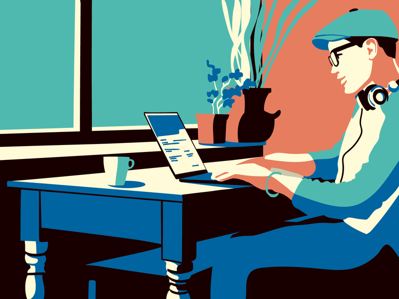 Guy with a laptop working home office freelancer contrast man people illustrator vector illustration