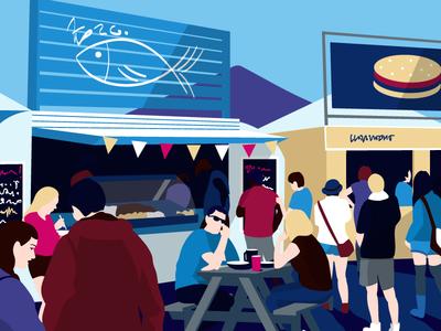 Festival vector fair kontist illustration people crowd food music festival