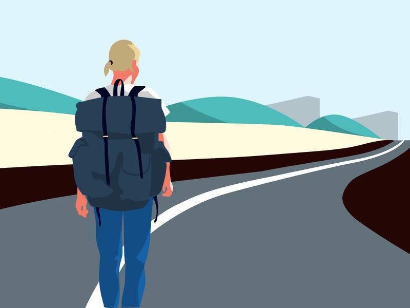 Illustrations for the Kontist blog post about Workaway travel work way road vector kontist illustration