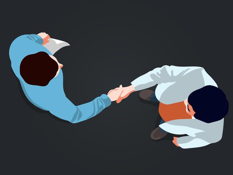 Illustration for Kontist blog article about negotiations partnership deal negotiatuion men handshake vector kontist