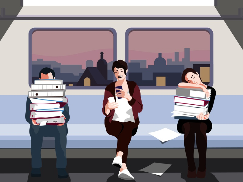 Illustration for the Product page of Kontist illustrator cityguide illustration vector people train