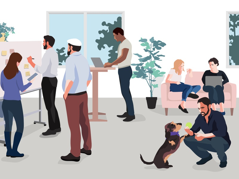 Kontist Career Page Header illustrator co-working team office people kontist vector illustration