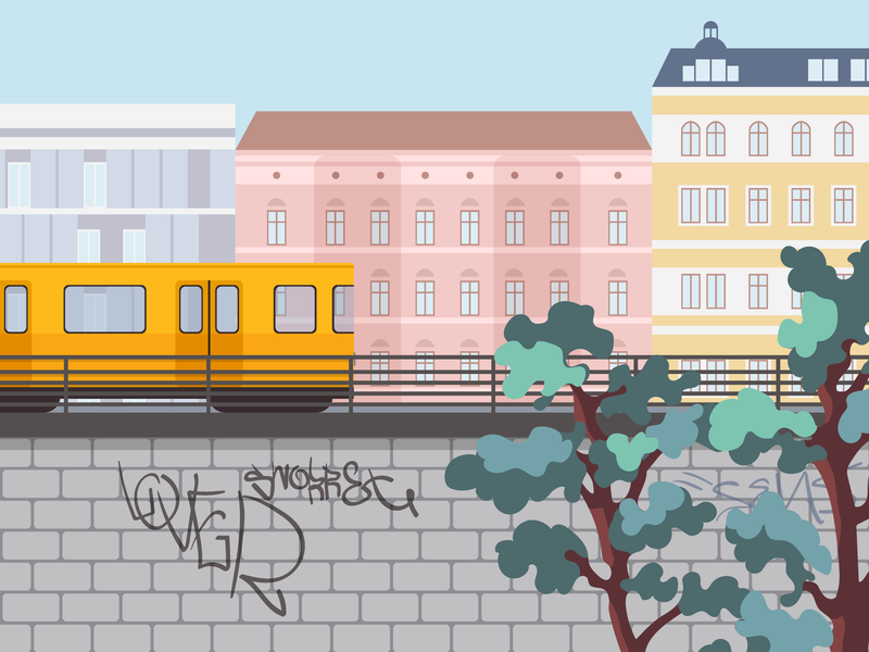 Kontist Career Page Illustration landscape berlin metro subway train city illustrator kontist vector illustration