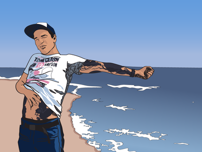 By the sea comic handsome guy sea people illustrator vector illustration