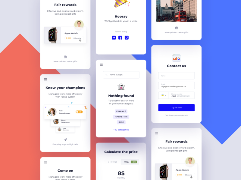 Mobile version of a web page alert social buttons categories plans emoji mobile success contact form inputs subscribe subscription email ui details ui elements phone design challenge ux ui dailyui