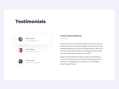 Daily UI 039 Testimonials minimal soft comments reviews review landing landing page webdesign web landing design desktop ui details ui elements design challenge ux ui dailyui039 dailyui