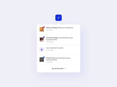 Daily UI 049 Notifications learning management system lms education socialization social gamification rating points comments likes details interface ui details ui elements phone design ux ui notifications