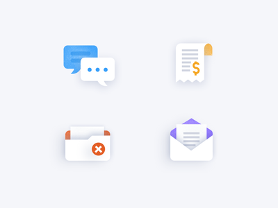 Icons for deal's statuses illustration simple profity crm app dashboards analytics payment folder icon design texts check cancel message letter bill bubble iconography icons icon set