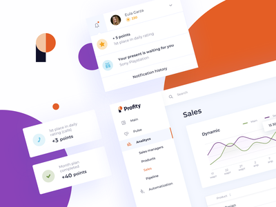 Profity UI details stats simple crm notification center notifications profile cards interface ux sales application webapp analytics analytics chart graphs dashboad ui profity