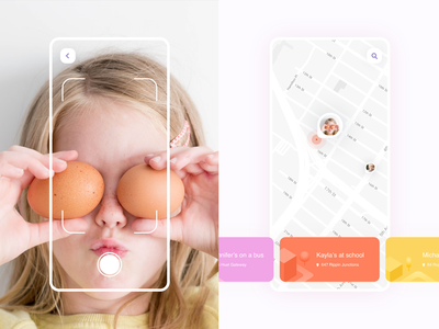 Daily UI 020 Location Tracker simple design clean ui application challenge design concept interface mobile app kid child cards map camera tracking location ux ui dailyui020 dailyui