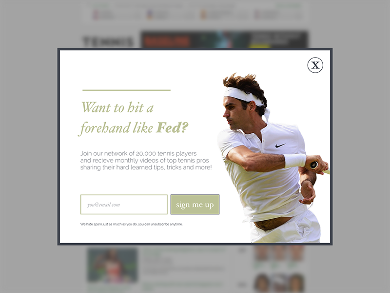 Daily UI #001 form signup desktop popup clean tennis fed ui modal dailyui