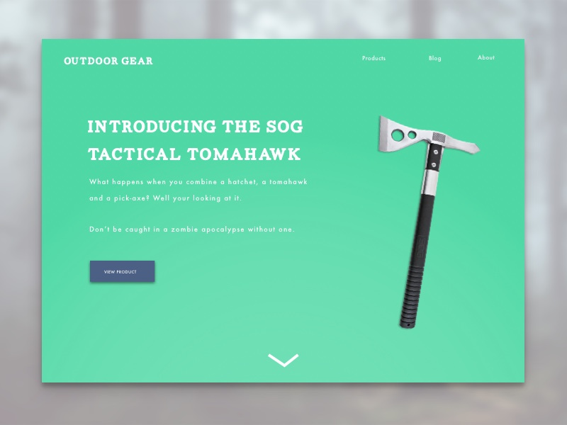 Daily Ui #003 landing page simple outdoor product action to call dailyui