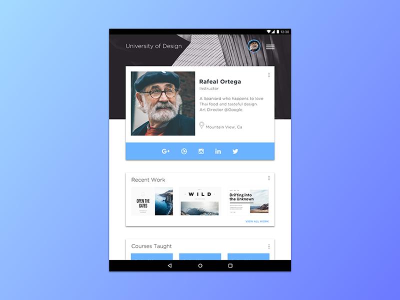 Daily Ui #006 ui material design user profile profile dailyui